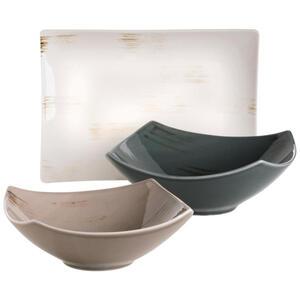 XXXLutz Schüsselset keramik porzellan 3-teilig , 3-Tlg. Servierset Derby , Grau, Weiß, Beige , 40x40x25 cm , handbemalt , 003175018005