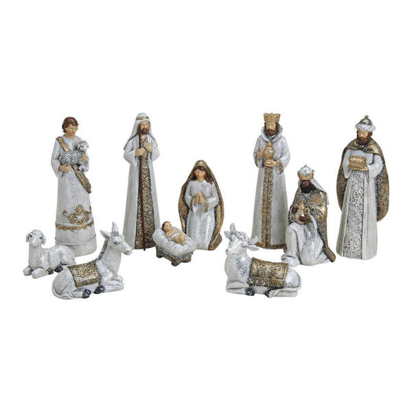 X-Mas Krippenfiguren-set 10tlg -20cm weiß, goldfarben , 10055482 , Kunststoff , 003579027001