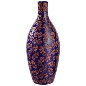 XXXLutz Vase 40,6 cm , 823780 , Blau , Keramik , 40.6 cm , glänzend, lackiert, bedruckt , nur für Seiden- und Kunstblumen geeignet, nur zu Dekorationszwecken, zum Stellen , 003754463801