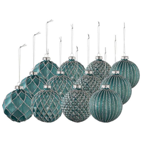 X-Mas Christbaumkugel-set 12-teilig türkis , 10022418 , Glas , 8 cm Schubladen , 003579021804
