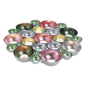 XXXLutz Windlicht , 10055981 , Silberfarben, Pink, Dunkelgrün, Hellgrün , Metall , 40x5x40 cm , 003579028001