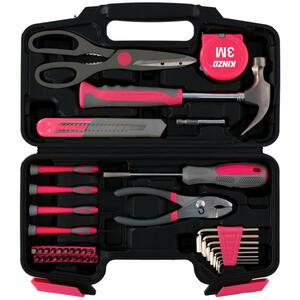 XXXLutz Werkzeugset , Werkzeugset , Grau, Schwarz, Edelstahlfarben, Pink , Metall , 10x2x24 cm , 006287122401
