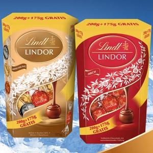 Lindt Lindor Kugeln Milch oder Mischung,  + 175g gratis, jede 375-g-Packung