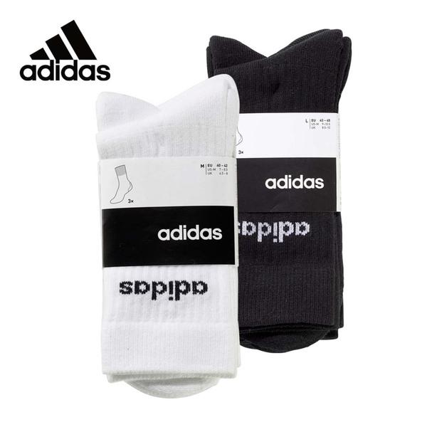 Adidas  Sportsocken weiß oder schwarz, Größe: 35/38 - 43/46, 3er-Pack je