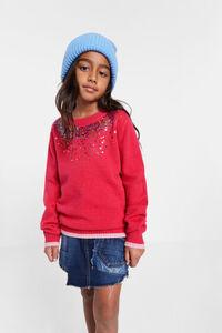 Pullover mit Pailletten am Kragen