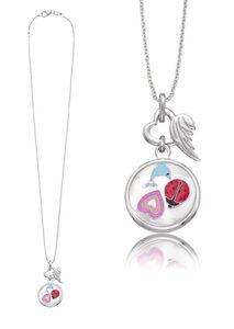 Herzengel Kette mit Anhänger »Herz, Delfin, Marienkäfer als Symbol für Freundschaft, HEN-GLAS-FRIEND«, mit Glaslinse und Emaille