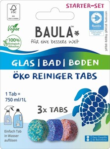 Biobaula  Starter Set - Glas/ Bad/ Boden ÖKO Reiniger 3x je 1 Tab