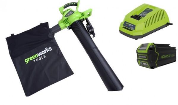 Greenworks Akku-Laubsauger/-bläser 40 V inkl. 1 Akku (4 Ah) u. Ladegerät