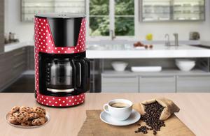 Kalorik Retro-Kaffeeautomat 1,5 Liter 15 Tassen Glaskanne Rot mit weißen Punkten TKG CM 1045.1