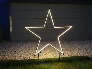 Star-Max Gartenstecker Stern mit Neonlichtband 300 warm weißen LED