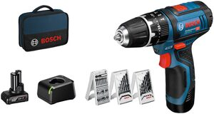Bosch Professional Akku-Schlagbohrschrauber »GSB 12V-15«, inkl. 2 Akkus, Ladegerät und Zubehör