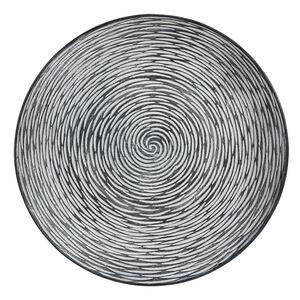 Holz-Dekoteller 39,5cm Schwarz/Weiß