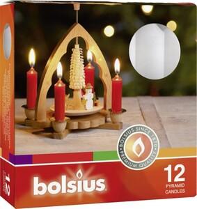 Bolsius Pyramidenkerzen ,  weiß, Höhe 9,8 cm, Ø 1,7 cm, 12er Box
