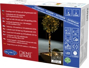 Konstsmide LED Lichterkette, mit Glimmereffekt für Außen 240 LED glimmend, bernstein