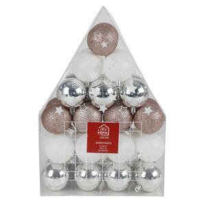 Weihnachtsbaumkugeln 6cm 36er-Set Silber/Weiß/Altrosa