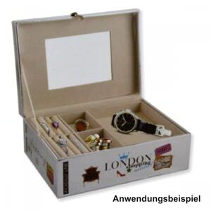 Schmuckkoffer 23 x 16,5 x 9 cm Kunstleder silber