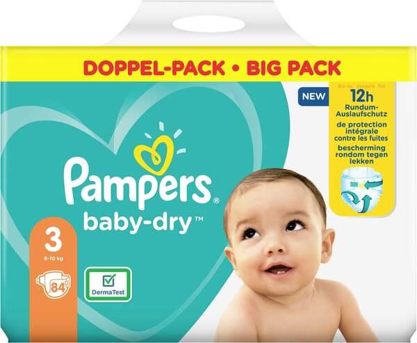 Pampers Windeln baby-dry Größe 3 (6-10 kg) Doppelpack