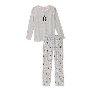 Damen-Schlafanzug mit Pinguin-Aufdruck, 2-teilig