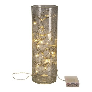 LED-Glas-Zylinder mit Timerfunktion, ca. 10x10x30cm