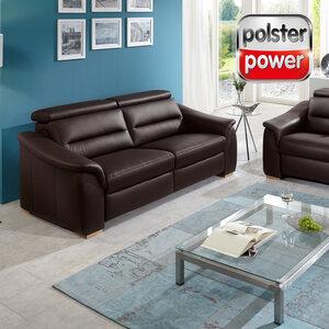 polsterpower 3-Sitzer - braun - Leder - Basismodell