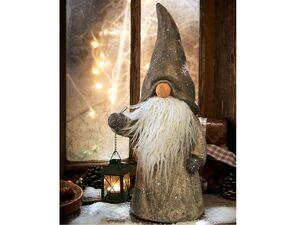 Pureday Weihnachtsdeko - Dekofigur Wichtel Toby - Mit Teelichthalter