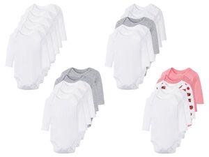 LUPILU® Baby Bodies, 5 Stück, mit Knöpfung im Schritt, aus reiner Baumwolle