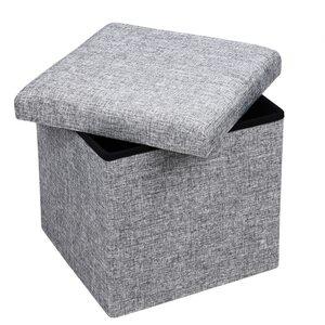 Deuba Faltbarer Sitzhocker mit Stauraum Leinenoptik Grau