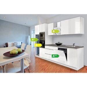 Respekta Premium grifflose Küchenzeile GLRP345HWWGKE 345 cm Weiß HG-Weiß