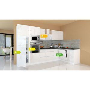 Respekta Premium grifflose L-Küchenzeile GLRPL345HW 345 cm, weiß