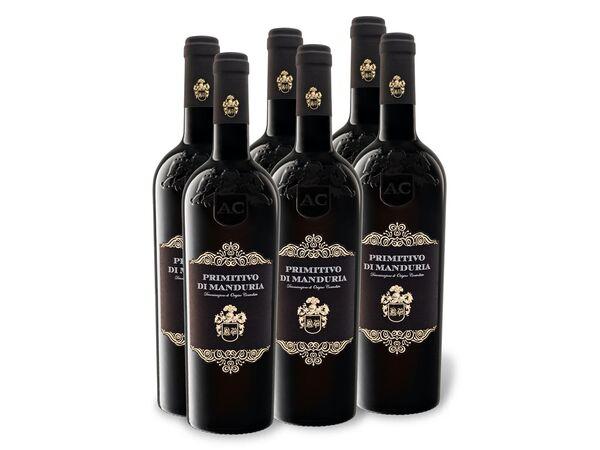 6 x 0,75-l-Flasche Weinpaket Primitivo di Manduria DOC trocken, Rotwein