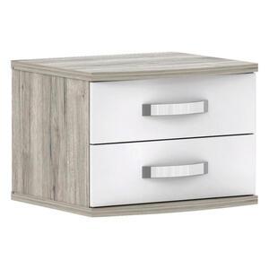 Carryhome Nachtkästchen weiß, eichefarben , Rondino , 2 Schubladen , 50x41x46 cm , Hochglanz,Nachbildung , 000687056607