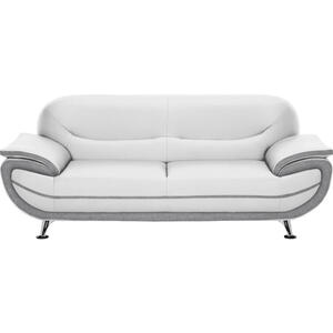 Ti`me Dreisitzer-sofa lederlook grau, weiß , Nena   -Time- , Textil , 208x85x87 cm , Lederlook , Typenauswahl, Stoffauswahl, Rücken echt , 000553003104