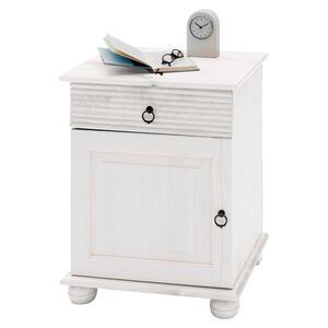 Carryhome Nachtkästchen kiefer massiv weiß , Oslo , Holz , 1 Schubladen , 48x60.5x40 cm , lackiert,Echtholz , Typenauswahl , 000619000907