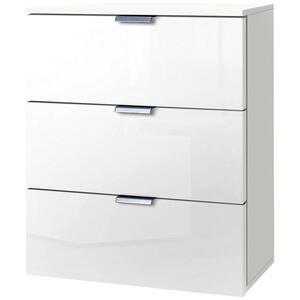 Carryhome Nachtkästchen weiß , Carina , Metall , 3 Schubladen , 50x61x42 cm , lackiert,Nachbildung , Typenauswahl , 001172010301