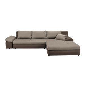 Carryhome Ecksofa braun, hellbraun webstoff , Bono , Textil , 5-Sitzer , Webstoff , Stoffauswahl, Schlafen auf Sitzhöhe, Rücken echt , 000553002724