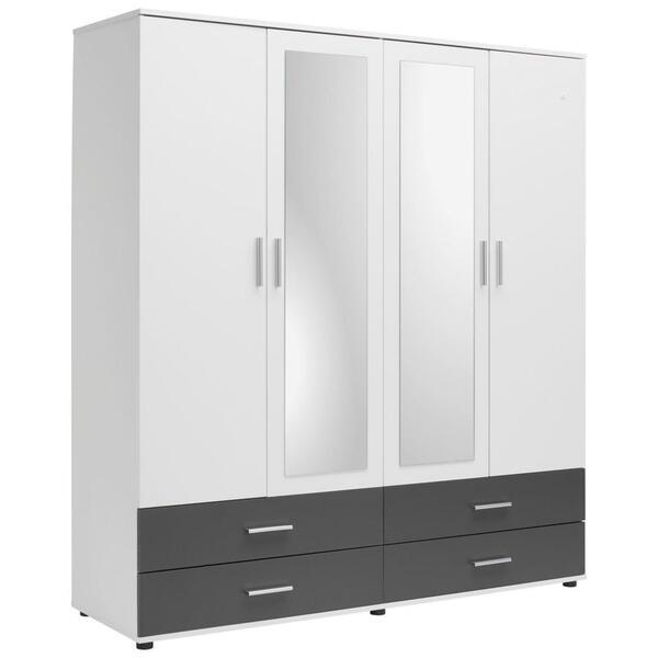 Carryhome Kleiderschrank 4-türig anthrazit, weiß , Race , Holzwerkstoff , 2 Fächer , 168x188x52 cm , Nachbildung , 000425000101