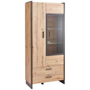 Hom`in Vitrine grau, eichefarben , Flash -Hom In- , Glas, Holzwerkstoff , 8 Fächer , 2 Schubladen , 92x205x41 cm , Nachbildung , Beimöbel erhältlich , 000687042302
