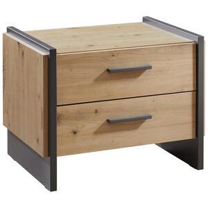 Hom`in Nachtkästchen grau, eichefarben , Flash -Hom In- , Kunststoff , 2 Schubladen , 57x45x41 cm , Nachbildung , 000687042216