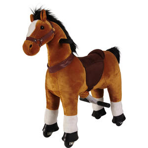 My Baby Lou Schaukelpferd , Galopp Pferd Groß , Braun , Metall, Textil , 35x100x92 cm , verzinkt,Plüsch , Fußstützen, Haltegriffe, Lehne abnehmbar , 004194000201