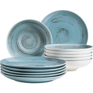 XXXLutz Porzellan tafelservice 12-teilig , 12-Tlg Tafelservice Derby , Blau , Keramik , 32x32x30 cm , handbemalt , 003175018011