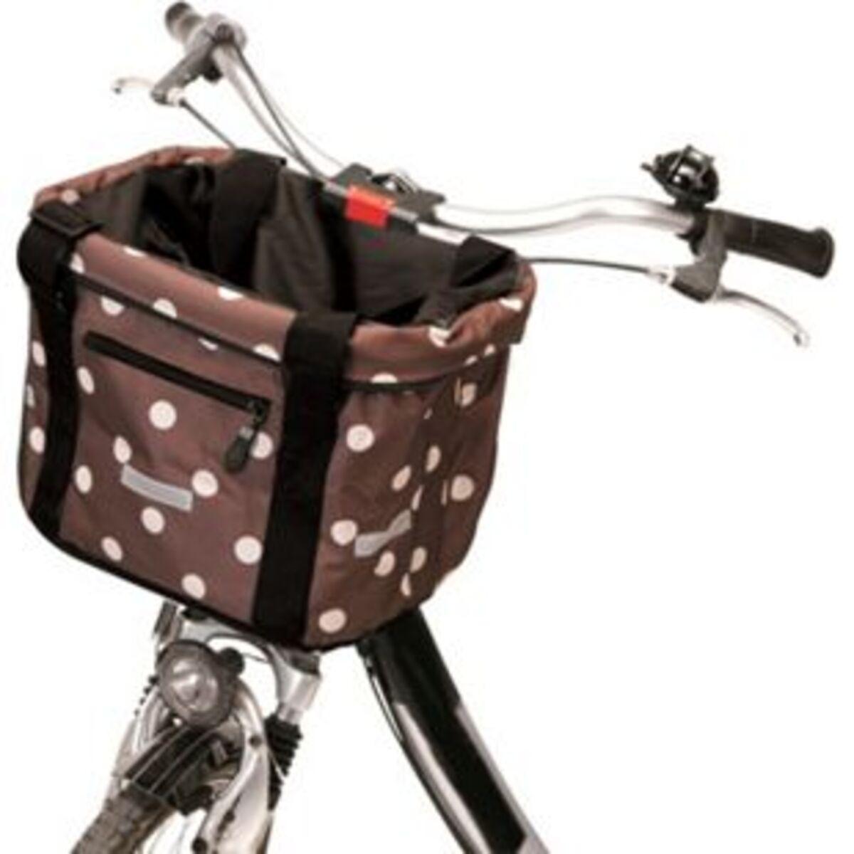 Bild 2 von Faltbarer Fahrradkorb Braun mit Punkten