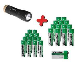 Zink-Kohle-Batterie Sparset 25-teilig + Taschenlampe Tough Camelion