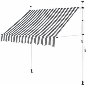 Klemm-Markise 2,5 x 1,2 m grau-weiß (Profilfarbe: Weiß)