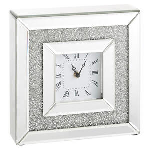 Xora Tischuhr silberfarben , Sara , Glas , 25.5x25.5x7.5 cm , lackiert,transparent, verspiegelt,Nachbildung , 001047006201