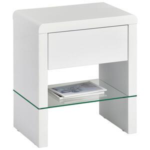 Xora Beistelltisch rechteckig weiß , Melinda , Glas , 1 Schubladen , 45x50.5x29.5 cm , Hochglanz,klar,Nachbildung , Stauraum , 000641001201