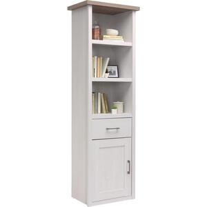 Carryhome Regal weiß, trüffeleichefarben , Luca , Holzwerkstoff , 3 Fächer , 1 Schubladen , 60x201x43 cm , Nachbildung , Beimöbel erhältlich , 000241002105