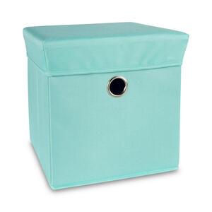 My Baby Lou Spielzeugbox , M. Deckel UND Hocker Funktion , Türkis , Kunststoff, Textil , Uni , 32x32x32 cm , softmatt,Nachbildung , Deckel, Deckel abnehmbar, faltbar, geeignet zum Sitzen , 008911000
