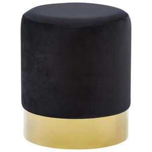 Xora Hocker samt schwarz, goldfarben , Puro , Metall, Textil , 35x42x35 cm , matt,Samt , Stoffauswahl , 000239000502