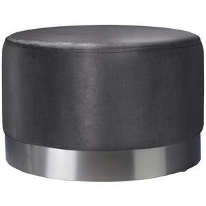 Xora Hocker samt grau, edelstahlfarben , Puro Xl , Metall, Textil , 55x35x55 cm , matt,Samt , 000239000601