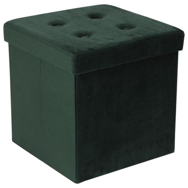 Carryhome Sitzbox samt grün , Lupo , Textil , 38x38x38 cm , Natur,Samt,Nachbildung , faltbar, als Aufbewahrungsbox verwendbar, Stauraum , 001635000815